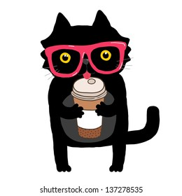 cute cartoon doodle cat with hipster glasses and coffee cup