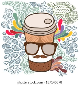 Cute cartoon doodle coffee cup. Hipster glasses and mustache