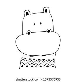 Cute cartoon doodle hippo. Kids Logo vector Isolated on white background. outline black and white illustration, design element