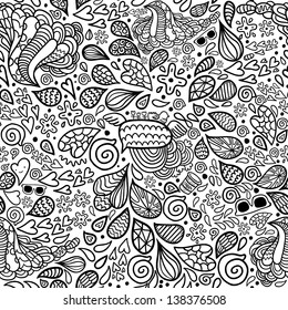 Cute cartoon doodle hipster seamless pattern. Pattern for your design, wallpaper, background, fabric textile.