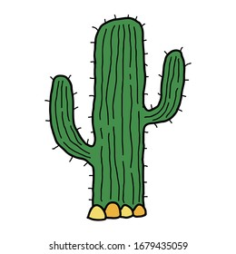 Cute cartoon doodle linear cactus in desert isolated on white background. Vector illustration.