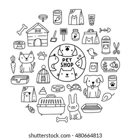 Cute cartoon doodle pet shop icons - logo, dog, cat, mouse, rabbit, cage, bird, fish, collar, bone, kennel, malt paste, food, pills, scissors, tray, aquarium, turtle, shampoo.