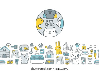 Cute cartoon doodle pet shop icons and bottom seamless border - logo, dog, cat, mouse, rabbit, cage, bird, fish, collar, bone, kennel, malt paste, food, pills, scissors, tray, aquarium, turtle