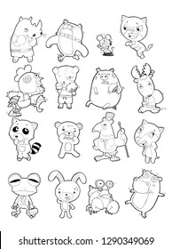 Cute cartoon doodle sketch Animals Vector on white Background, linear drawing, set of funny Animals illustrations
