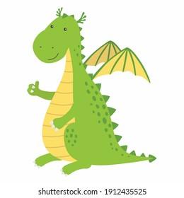 A cute cartoon dragon character giving a thumbs up