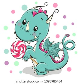 Cute Cartoon Dragon with lollipop on a white background