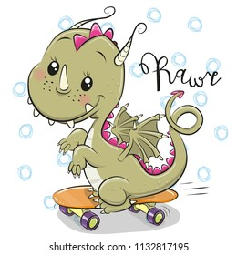 Cute Cartoon Dragon with skateboard on a white background