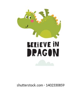 Cute cartoon dragon. Vector illustration with funny dragon baby.