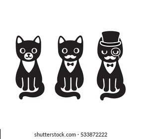 Cute cartoon drawing of black and white tuxedo cat with mustache and hat. Funny cat gentleman.