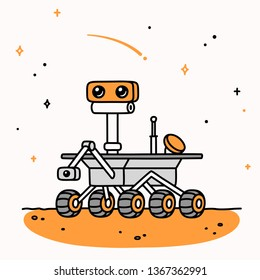 Cute cartoon drawing of Mars rover. Space exploration vector illustration.