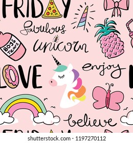 Cute cartoon drawing seamless repeating pattern texture with unicorn, rainbow, pineapple and butterfly / Vector illustration design for fashion fabrics, textile graphics, wallpapers and other uses