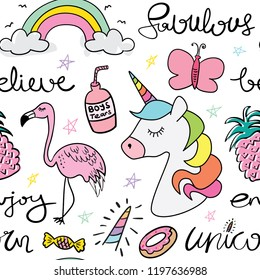Cute cartoon drawings of unicorn, butterfly, rainbow, flamingo and donut seamless repeating pattern texture / Vector illustration design for fashion fabrics, textile graphics, wallpapers and etc.