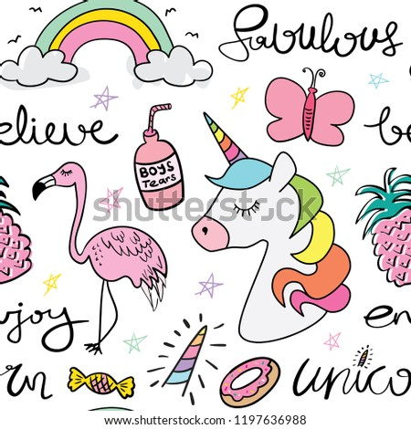 Kawaii Cute Cartoon Drawings Of Unicorn Butterfly Rainbow Flamingo And Donut Seamless Repeating Pattern Shutterstock Cute Cartoon Drawings Unicorn Butterfly Rainbow Stockvector