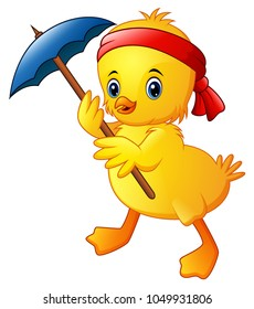 Cute cartoon duck with blue umbrella and red headband