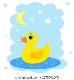 cute cartoon duck illustration for kids