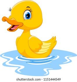 Cute cartoon duck swimming