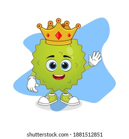 Cute Cartoon Durian Fruit A Wise King with Gold Crown, Good Design For Fruit Character Theme