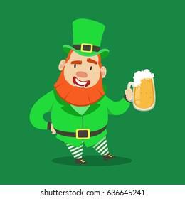 Cute cartoon dwarf Leprechaun standing with mug of beer. Saint Patricks Day colorful character