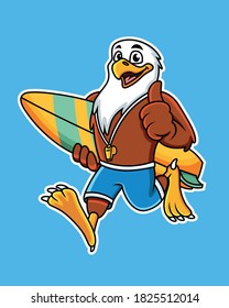 Cute cartoon eagle carrying a surfboard with a thumbs up pose. Vector Illustration with blue background