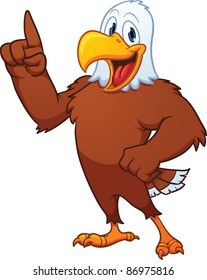 Cute cartoon eagle. Vector illustration with simple gradients. All in a single layer.