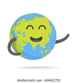 Cute cartoon earth character. World map globe with smiley face and hands vector illustration.