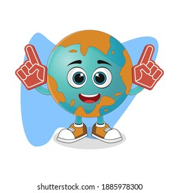 Cute Cartoon Earth with Foam Finger, Nice Design Theme For Planet Characters