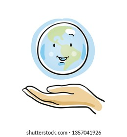 Cute cartoon earth globe above hand icon. Concept for protecting our planet. Illustration for kids and school lessions. Hand drawn cartoon sketch vector illustration, simple plain coloring.
