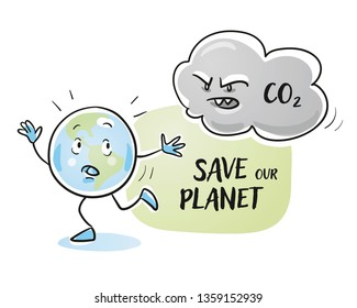 Cute cartoon earth globe character running away from a CO2 cloud. Concept for reducing carbon dioxide and saving the environment. Hand drawn cartoon sketch vector illustration, simple plain coloring.