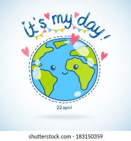 Cute cartoon Earth globe postcard. Earth day background.