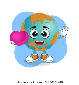 Cute Cartoon Earth Holding a Big Heart, Nice Design Theme For Planet Characters