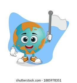 Cute Cartoon Earth Holding a White Flag, Nice Design Theme For Planet Characters