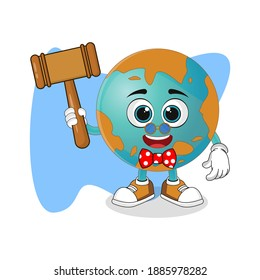 Cute Cartoon Earth As a Lawyer, Nice Design Theme For Planet Characters