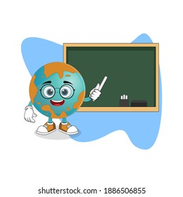 Cute Cartoon Earth As Teacher with Chalkboard, Nice Design Theme For Planet Characters