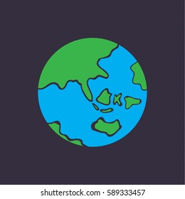 cute cartoon Earth vector, earth doodle