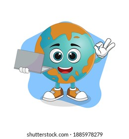 Cute Cartoon Earth Working From Home with Laptop, Nice Design Theme For Planet Characters
