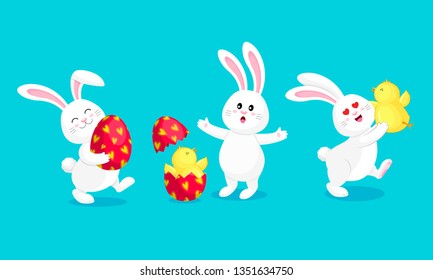 Cute cartoon Easter bunny, character design. Three  different poses with egg and  little chick. Easter holiday concept. Vector illustration isolated on blue background.