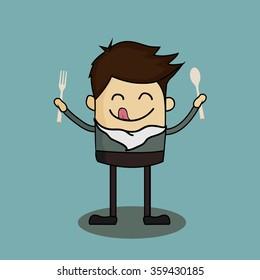 cute cartoon eating as yummy, delicious