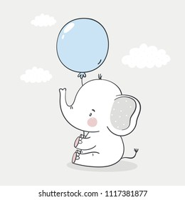 Cute cartoon elephant baby. Baby Shower print