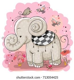 Cute Cartoon Elephant and a bird on a pink background