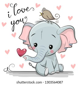 Cute Cartoon Elephant with Heart on a white background