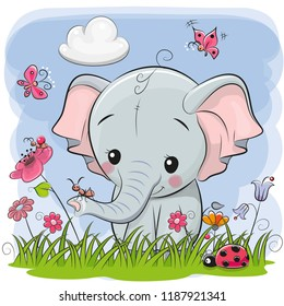 Cute Cartoon Elephant on a meadow with flowers and butterflies