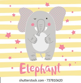 Cute cartoon elephant on a striped background. Vector illustration.