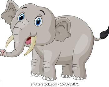 Cute cartoon elephant on white background