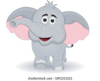 Cute Cartoon Elephant Smilling White Background Isolated