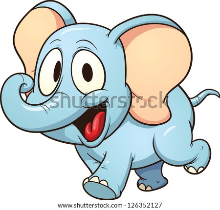 Cute cartoon elephant. Vector clip art illustration with simple gradients. All  in a single 605094c10