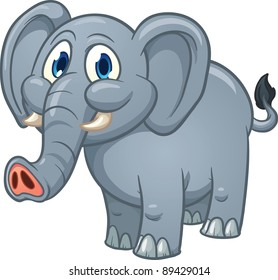 Cute cartoon elephant. Vector illustration with simple gradients. All in a single layer.