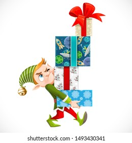 Cute cartoon elf Santa's assistant holding large stack of wrapped gifts isolated on a white background