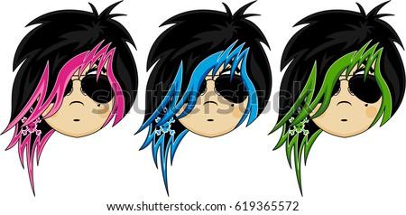 Cute Cartoon Emo Punk Girl Stock Vektorgrafik Lizenzfrei 619365572