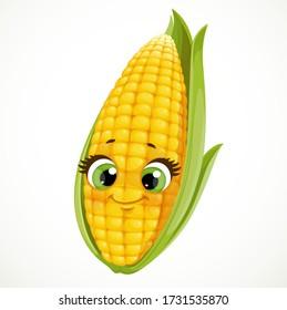 Cute cartoon emoji corn isolated on white background