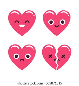 Cute cartoon emoticon hearts set, happy and sad and broken. Modern flat style vector heart illustration.